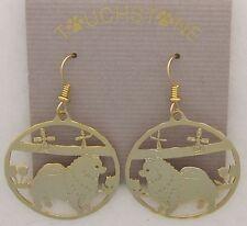 Keeshond Jewelry Gold Dangle Scene Earrings by Touchstone