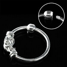 1 Nose Hoop Ring Fixed Ball With Balinese Wire Design 22g 8mm CBR #NR15