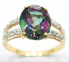 SYJEWELRYEMPIRE 10KT YELLOW GOLD OVAL MYSTIC TOPAZ & DIAMOND RING SIZE 7 R1029