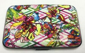 Chevron Floral Flowers RFID Secure Theft Protection Credit Card Armored Wallet
