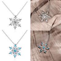 Women Silver Frozen Snowflake Necklace Rhinestone Crystal Pendant Chain Jewelry☆