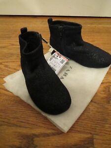 NWT Zara Sparkle girls boots size 23 6.5 black