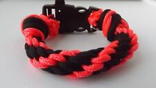 Kumihimo Braided Bracelet With Clasp Handmade Pink And Black Parachute Cord