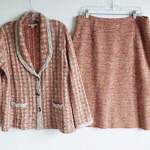 Pendleton Plus Size Multi-Color Tweed Silk Blend Skirt Suit Size 1x