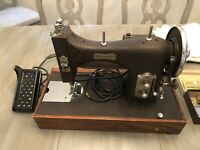 DOMESTIC Vintage 1950's Sewing Machine with Case, Base, and Many Accessories
