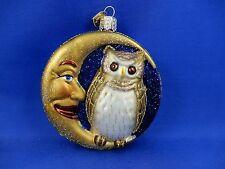 Owl In Moon Bird Old World Christmas Ornament Glass Halloween Animal NWT 26064