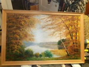 Ölbild Unikat Malerei Landschaft 60x98 cm + Holzrahmen 1946 E. Hugo Eiselt Öl