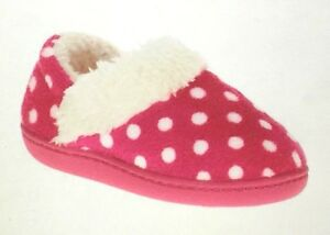 Toddler Girls Sz 5/6 Small Slippers PINK Polka Dot RUBBER SOLE Indoor Outdoor