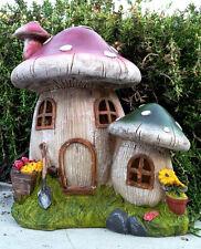 Solar Cute Garden Decor Mushroom Houses Statue with Soft White LED