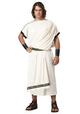 Roman Toga Costume Men's 4 Pc Ivory Poly Tunic W/ Drape Arm Cuffs & Belt OS