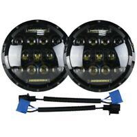 "Pair 7"" INCH 75W LED Headlight Hi/Lo Beam DRL /2 Wire for Jeep Wrangler JK LJ CJ"