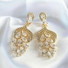 Gold Statement Earrings 9ct gf with Sim Diamonds RRP £39.99 Plum UK GIFT BOXED