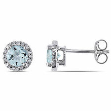 10k White Gold Diamond And 4/5 Ct TGW Aquamarine Halo Stud Earrings GH I2;I3