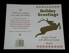 U.S.A. #3363a, 1999, HOLIDAY GREETINGS BOOKLET PANE/20 P#B444444,MNH,NICE! LQQK!
