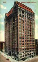 Masonic Temple Street Corner View Chicago IL Illinois 1900's 1910's Postcard