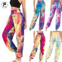 Womens High Waist Sweatpants Lounge Yoga Tie Dye Pants Workout Gym Trousers O