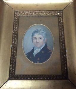 Antique Miniature Painting Of The Prominent Military Gentleman