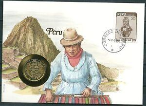 COIN FDC COVER 1985 PERU 50 SOLES COIN 1982 -CAG 281119
