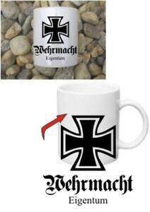 Wehrmacht Eigentum Eisernes Kreuz EK Tasse Coffee Mug Iron Cross WH WWII WK2