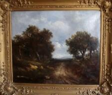 Antique CONSTABLE SCHOOL British Romantic Landscape Oil Painting EVENING LIGHT