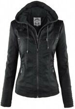 Womens Leather Hooded Jacket Slim Parka Coat Overcoat Trench Warm Winter Outwear