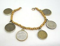 12K Yellow Gold Bead Bracelet w Coins France / Spain / Italy / Portugal