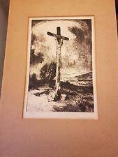 Anton Rausch  Radierung sign. Jesus Christus am KreuzOriginal Kaltnadelradierung