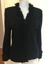 St. John Jacket Sweater Blazer Black Silk Ruffle Size 6