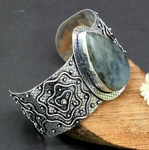 925 Sterling Silver Natural Labradorite Gemstone Jewelry Cuff Bracelet S-7-8''