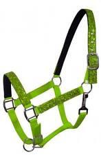 LIME PONY Size Nylon Neoprene Lined Halter w/ Glitter Overlay! NEW HORSE TACK!