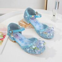 Kids Girl Sandals Froze2 Princess Elsa Fancy Dress Up Party Sequin Glitter Shoes