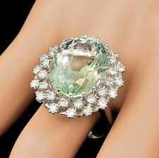 Fabulous Light Olive Green 15.84CT Beryl With Single Cut 1.17CT CZ Cluster Ring