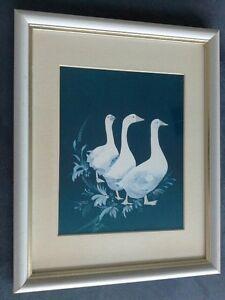 ANNI MOLLER SIGNED ART PRINT C. 1989 BLUE & WHITE DUCKS WOOD RANGE FRAMED