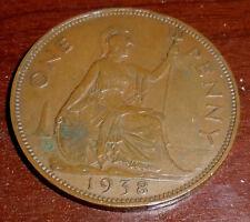 Great Britain Penny, 1938, Britannia seated right, Very Fine