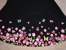 MEDIUM LuLaRoe MAXI DIPPED SKIRT black floral butterflies purple pink NWT M
