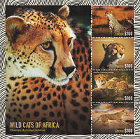 Liberia 2015 - Wild Cats of Africa- sheetlet of 4 MNH