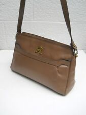 Etienne Aigner Vintage Classic Light Taupe Leather Two-Compartment Shoulder Bag