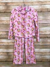 Disney Princess Pink 2-piece PJs Pajamas Flannel Girls Size 10/12
