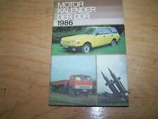 Calendrier Automobile Moteur livre de DDR 1986 SIMSON W50 NVA WARTBURG trabant