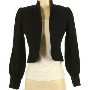David Hayes For Saks Fifth Avenue Black Wool Cropped Open Jacket Size 4