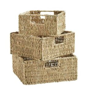 JVL Natural Seagrass Square Organizer Storage Baskets with Inset Handles 3 Pack