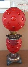 Beautiful Victorian Gone With Wind Kerosene Oil Banquet Lamp Red Bullseye Glass