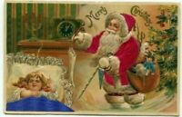 ~SILK~Santa Claus with  Sleeping Child Tree~Antique~Christmas Postcard--s277