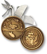 "US Navy Coin Knife 1 7/8"" Diameter Bronze Antique Round Folding Pocket Large"