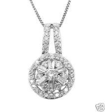0.52ct Round & Bg Antique Style Pendant w/ Necklace 14k