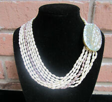 VINTAGE Genuine Rice Pearl 8 Strand Necklace Large Abalone Clasp Ivory & Gray