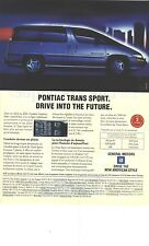 PUBLICITE ADVERTISING  1993   GENERAL MOTORS    PONTIAC TRANS SPORT