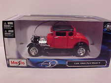 1929 Ford Model A Hot Rod Roadster Die-cast Car 1:24 by Maisto 7 inch Red Black