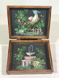 c.1976 Folk Art hand-painted liner Peacock & Fountain WOOD BOX vintage