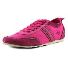Zapatillas deportivas de mujer planos de color principal rosa de lona